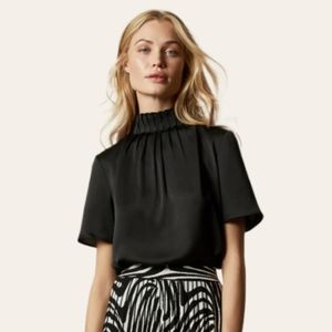 COS High neck frill detail top SIZE 4